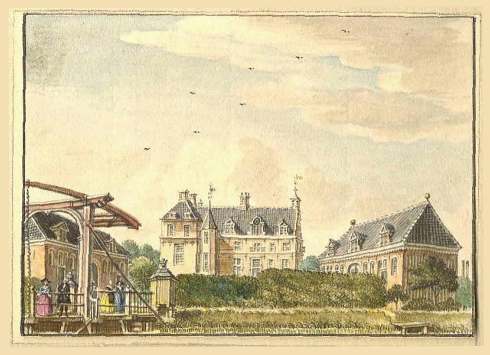 Ampsen in Laren. Tekening Jan de Beijer, 1743